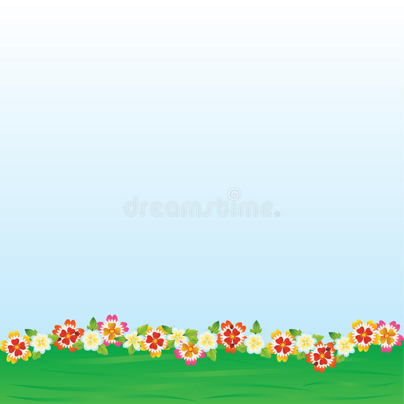 Spring flowers. Field and meadow flowers on abstract green field stock illustration