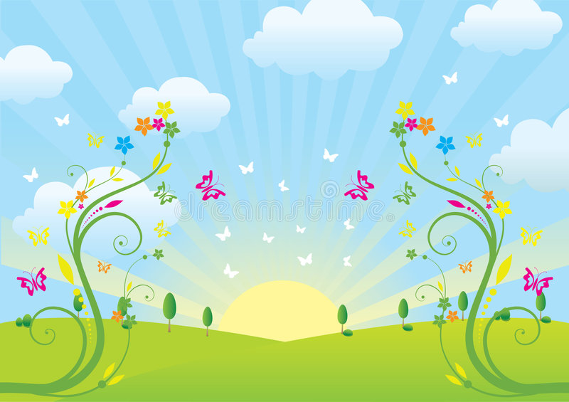 Download Spring and flowers stock vector. Image of background, pastel - 9162764