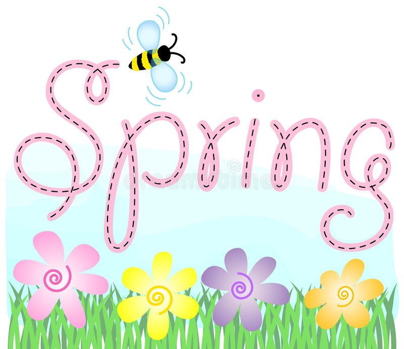 Spring Flowers and Bee/eps. Pastel spring flowers in the grass with a bee and the headline Spring stock illustration