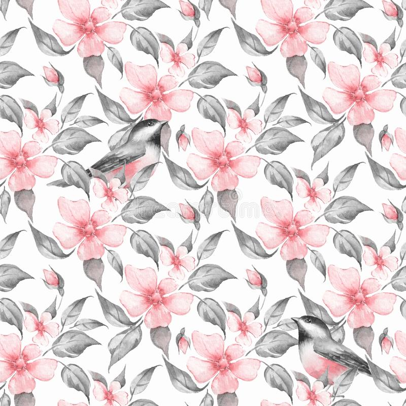 Spring flowers and birds seamless pattern vector illustration