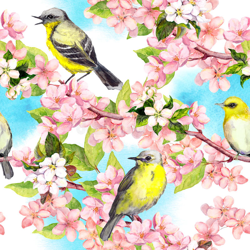 Spring flowers blossom, birds with blue sky. Floral seamless pattern. Vintage watercolor vector illustration