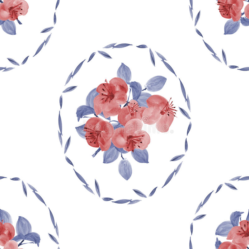 Seamless pattern of red flowers and blue leaves in a oval frame on a white background. Watercolor stock illustration