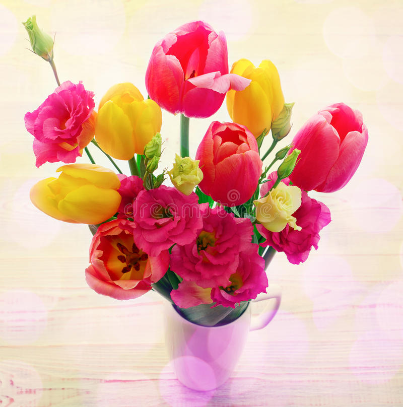 Spring Flowers eustoma and tulips stock photos