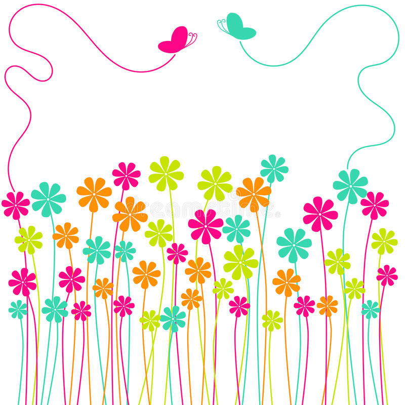 Spring Flowers Field butterflies greeting card royalty free illustration