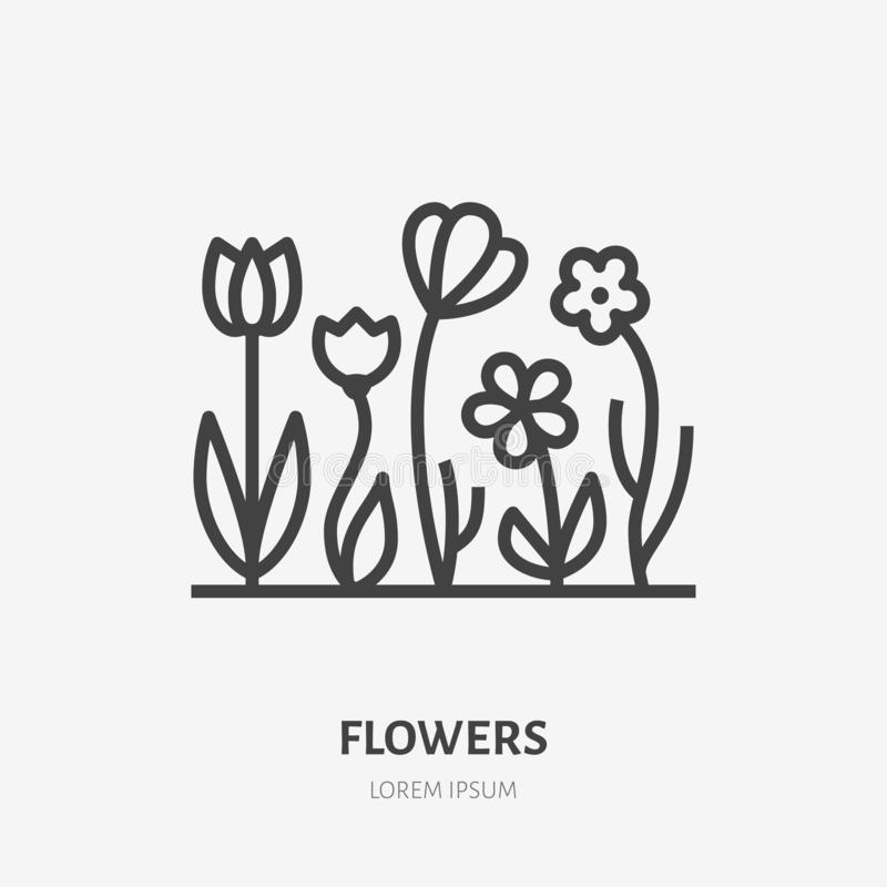 Spring flowers flat line icon. Vector thin sign of gardening, planting, ecology logo. Landscaping illustration, organic royalty free illustration