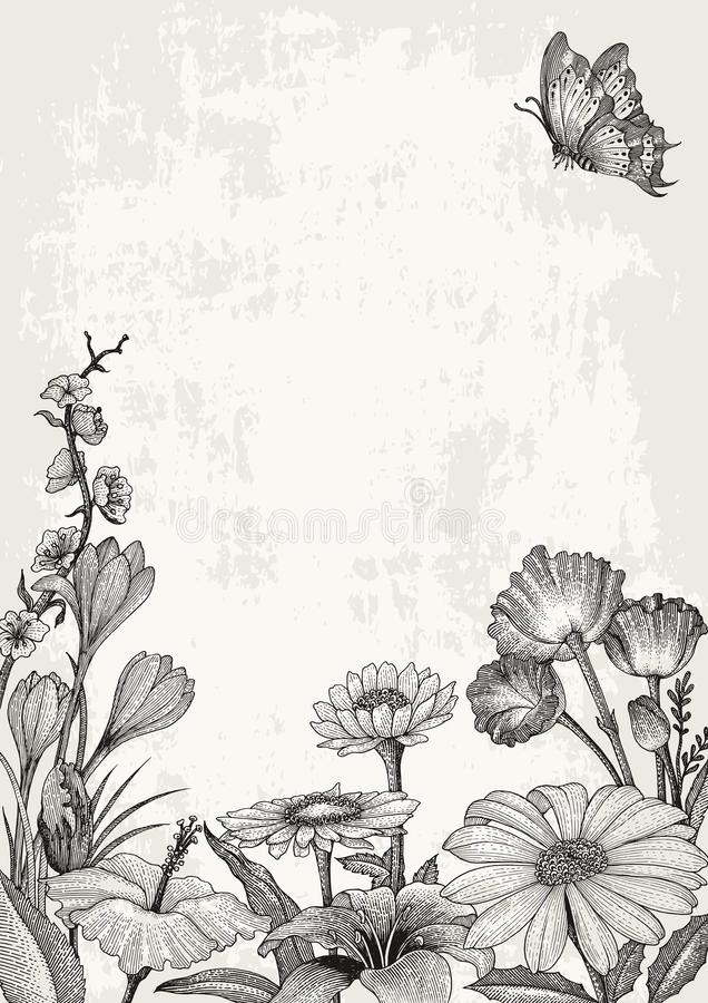 Spring flowers frame hand drawing vintage style on grunge background stock illustration
