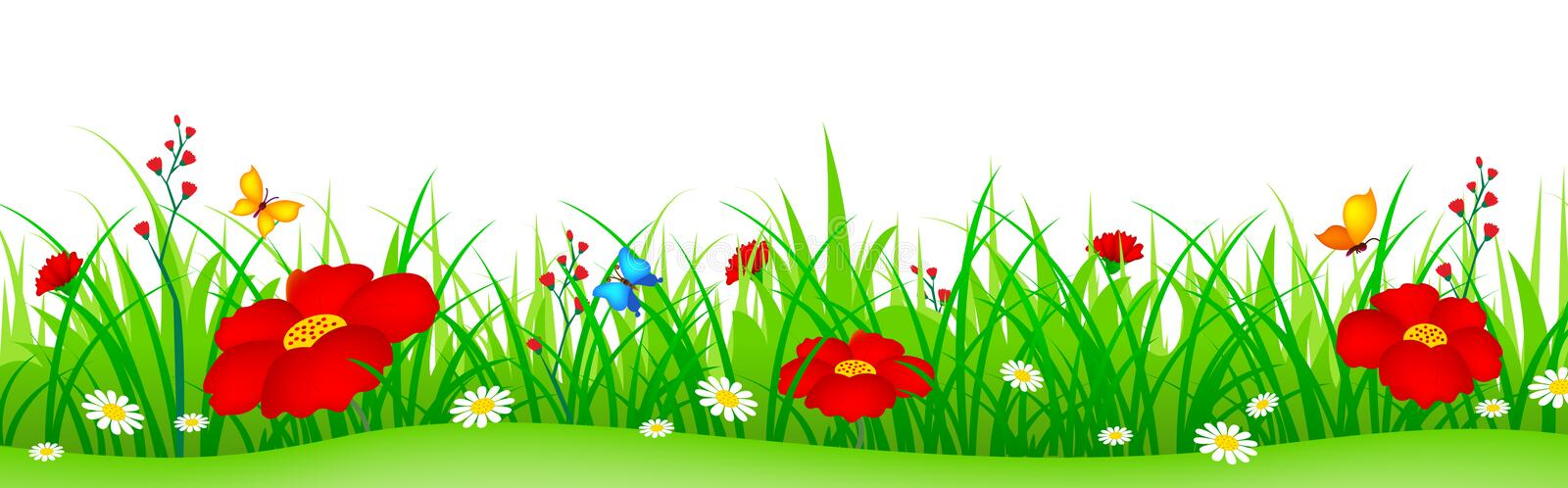 Spring flowers and grass header stock illustration