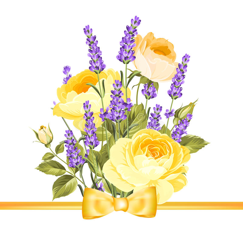 Spring flowers. Greeting card with rose and lavender. Spring flowers royalty free illustration