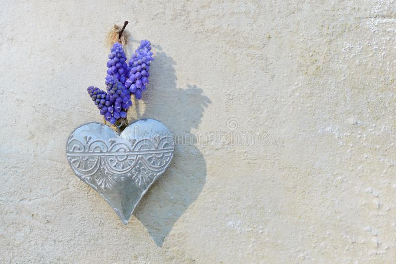 Spring flowers and  iron heart hung on a outdoor wall stock photos