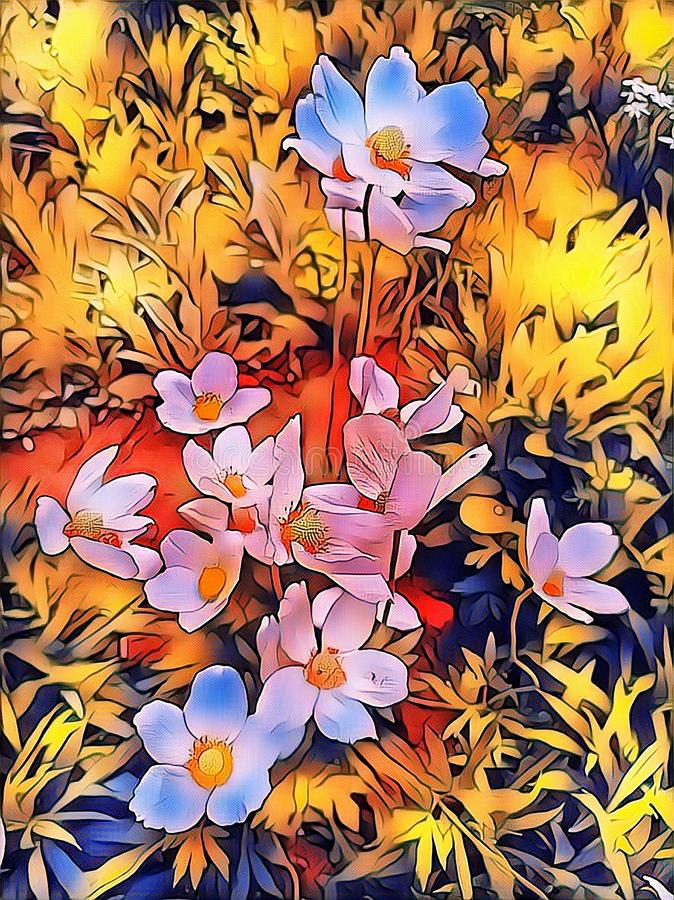 Spring flowers in May in the flowerbed vector illustration
