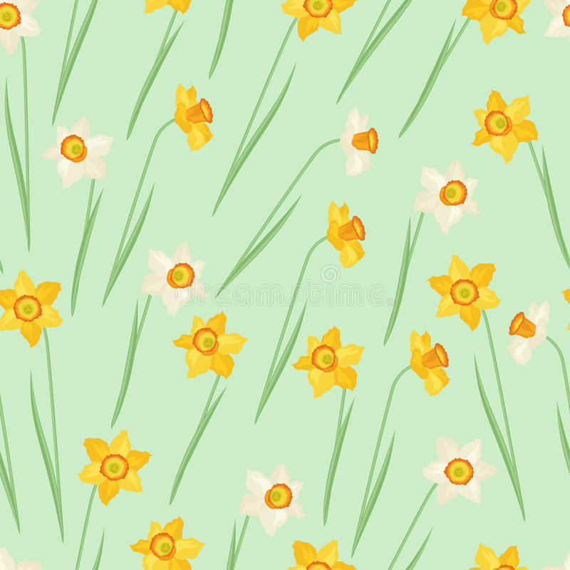 Spring flowers narcissus natural seamless pattern stock illustration