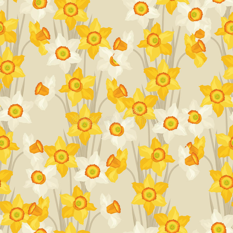 Spring flowers narcissus natural seamless pattern vector illustration