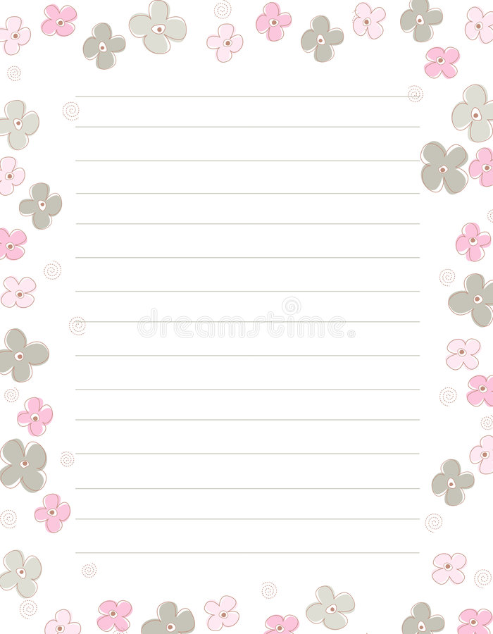 Spring flowers note paper stock illustration