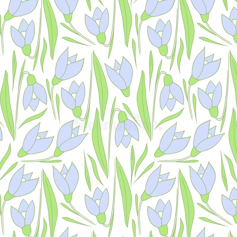 Spring flowers pattern. Blue pattern. stock photography