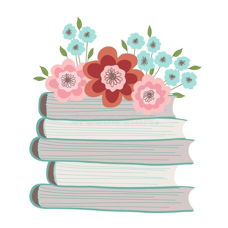 Spring flowers on a pile of books. Illustration on white background. N