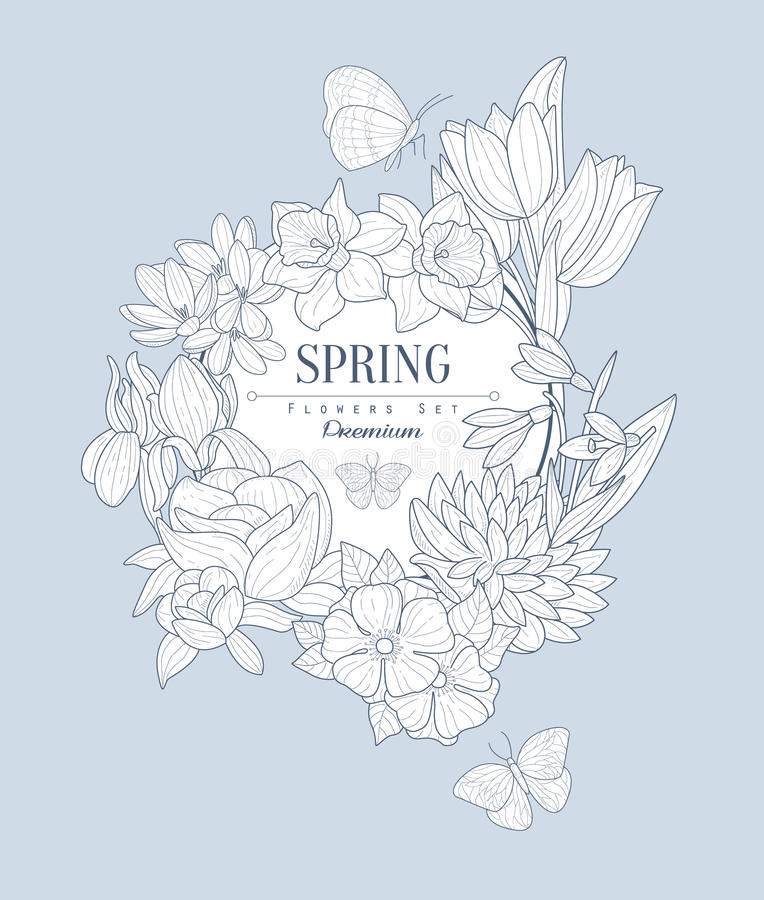 Download Spring Flowers Vintage Sketch Stock Vector