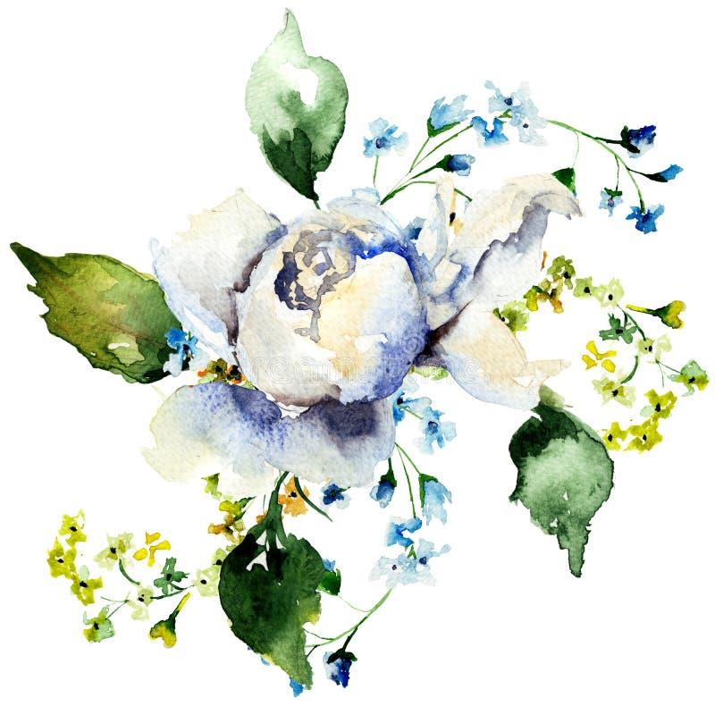 Spring flowers watercolour illustration vector illustration