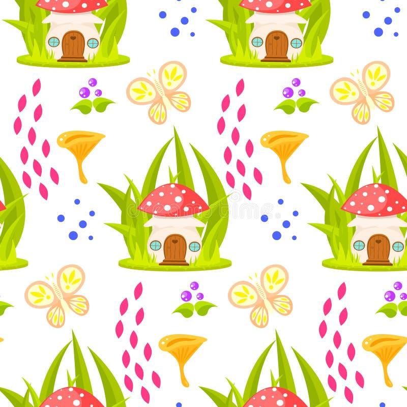 Spring forest mushroom house seamless pattern. vector illustration