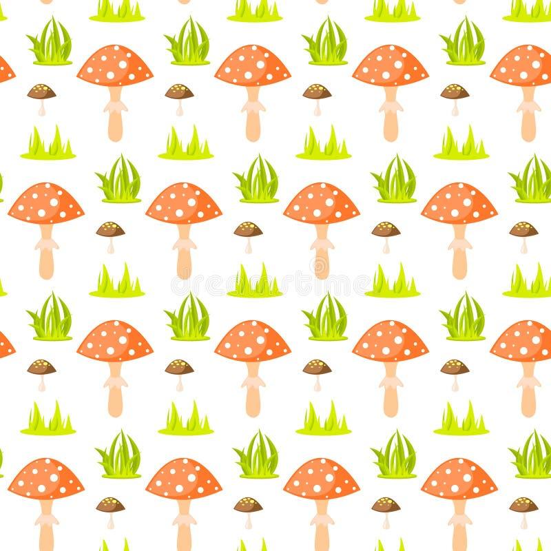 Spring forest mushroom seamless pattern. royalty free illustration