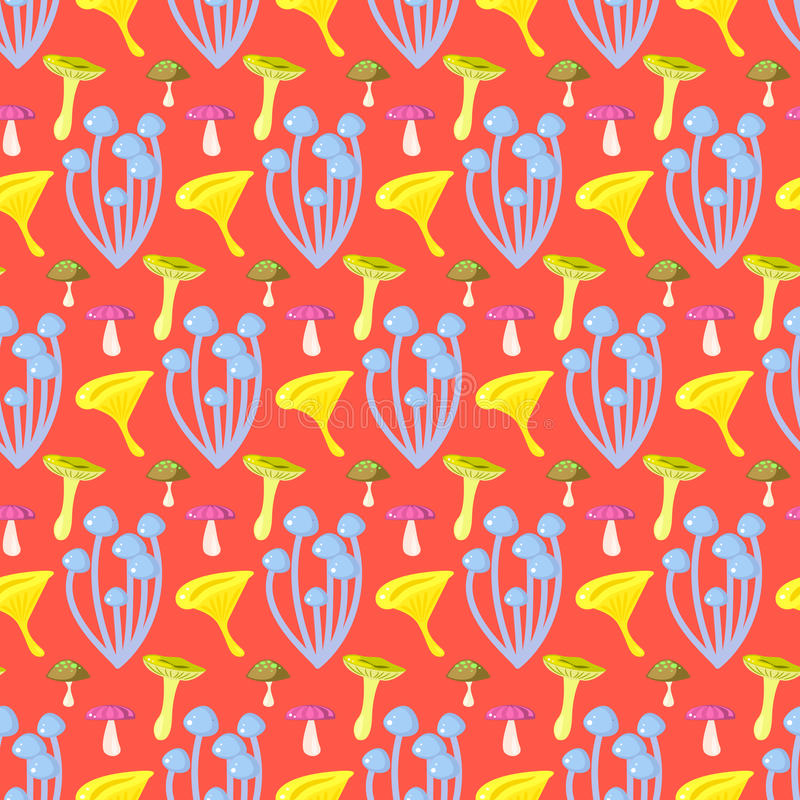Spring forest mushroom seamless pattern. stock illustration