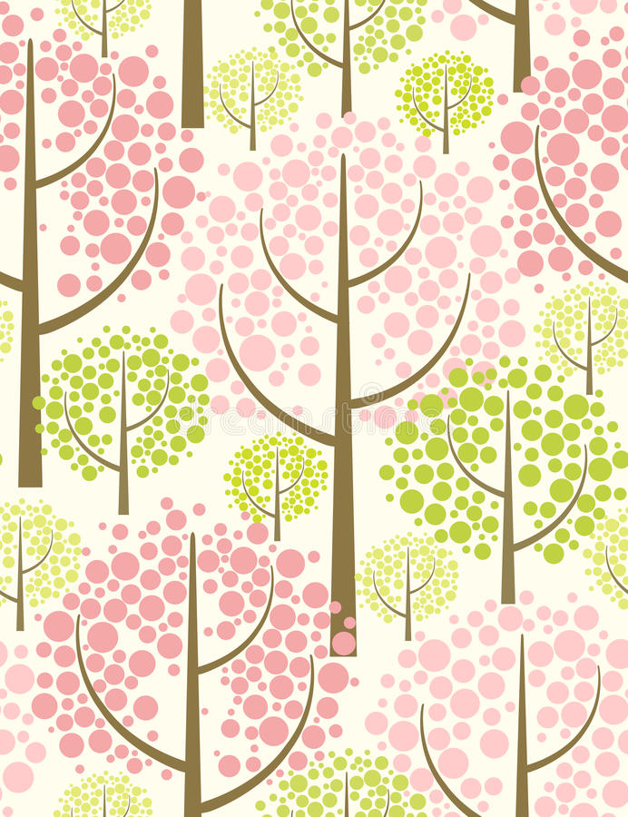 Spring forest. Vector seamless pattern. stock illustration