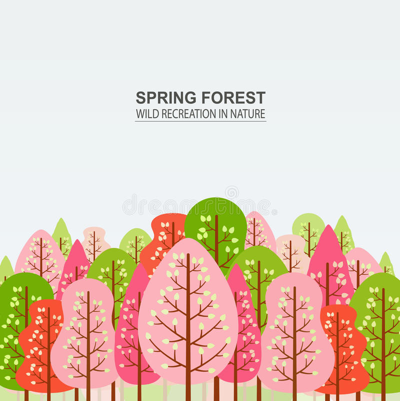 Free Spring Forest With Pink, Red And Green Trees. Stock Photos - 90599713