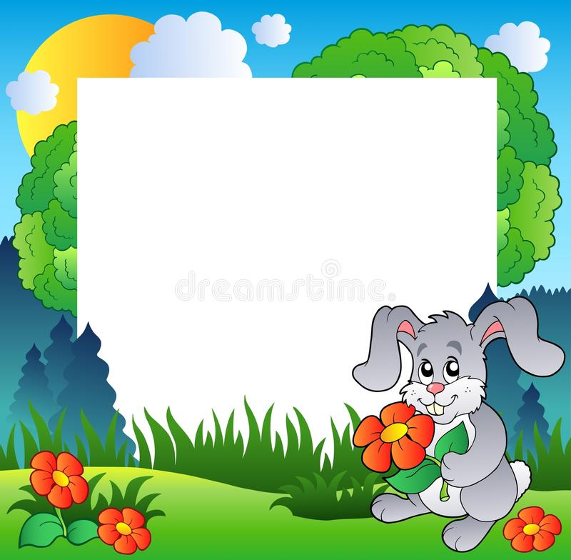 Download Spring Frame With Bunny And Flowers Stock Vector - Image: 18424737
