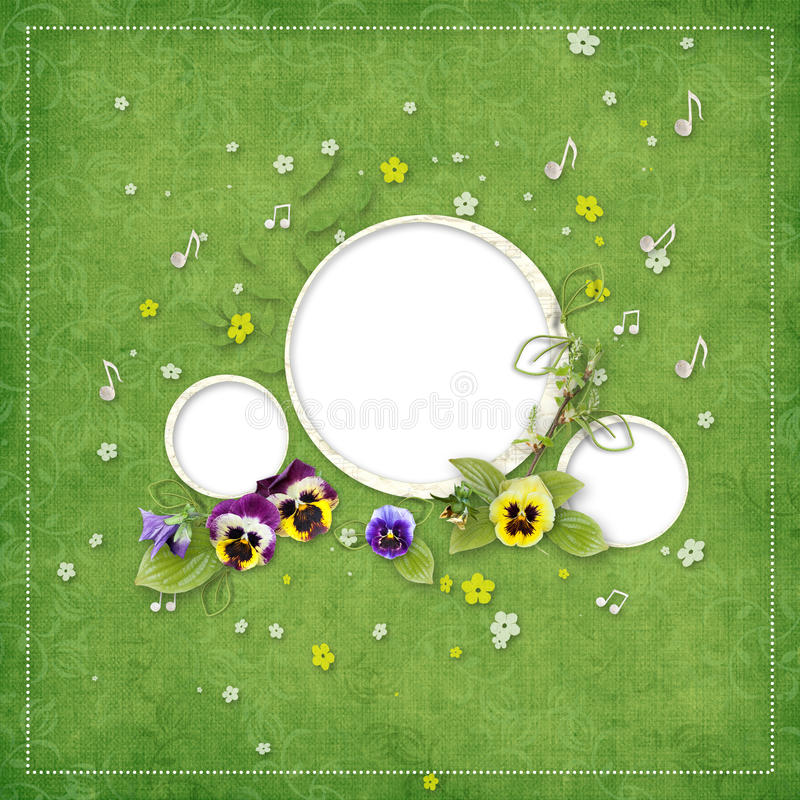 Spring Frame For Three Photos Royalty Free Stock Photo