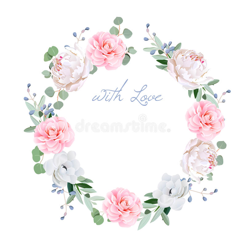 Spring fresh peony, anemone, camellia, brunia flowers and eucaliptis leaves round vector frame. All elements are and editable stock illustration