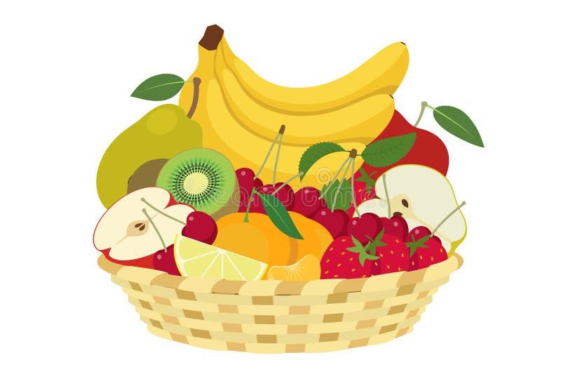 Spring fruit. Basket of spring fruit isolated on white background stock illustration