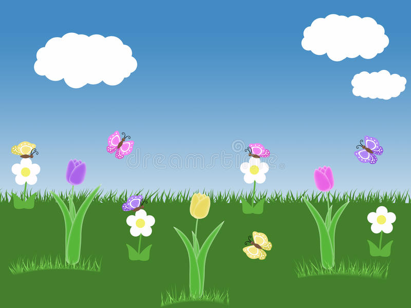 Spring garden background with tulips butterflies blue sky green grass white flowers and clouds illustration stock illustration