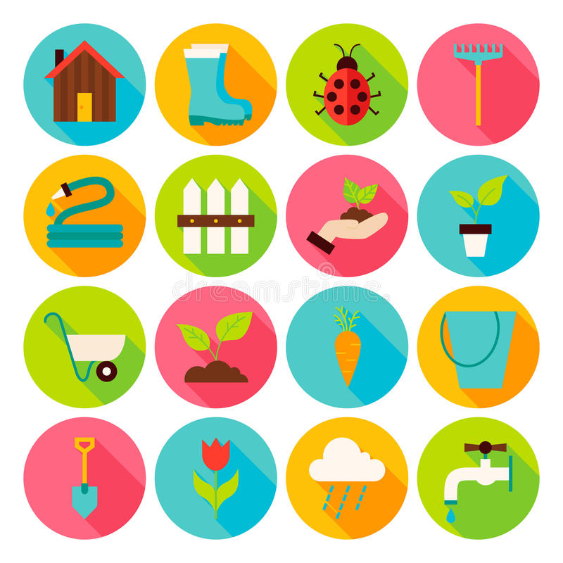 Spring Garden Circle Icons Set with long Shadow vector illustration