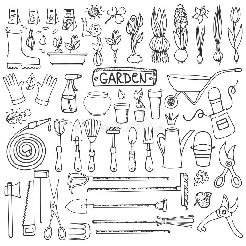 Spring garden doodle set outline tools plants stock vector for Gardening tools drawing