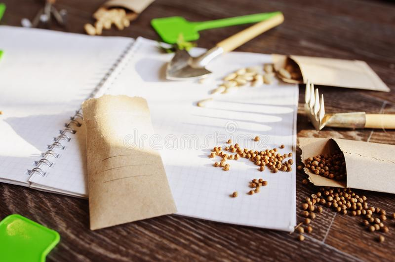 Spring garden preparation for sowing vegetable seeds and planning. Pumpkin, coriander with labels, peat pots and tools on note book. Seasonal garden work royalty free stock photo