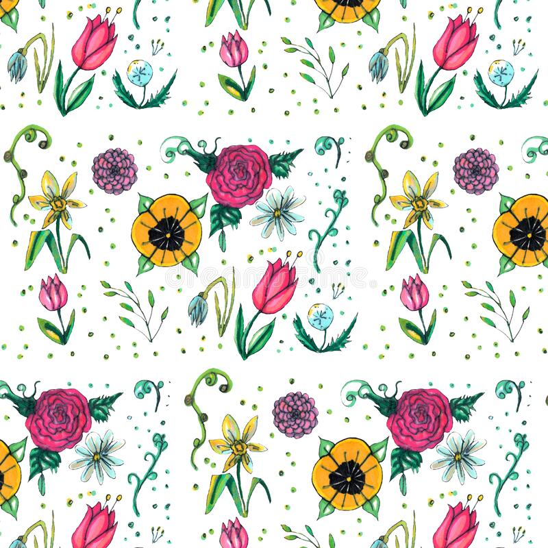 Spring garden seamless pattern design. Nature illustration. Flower graphic design vector illustration