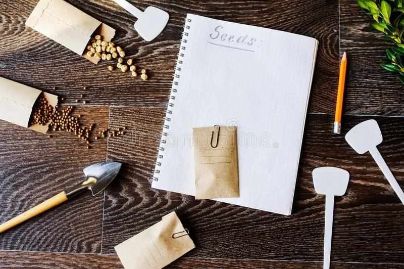 Spring garden work flat lay with vegetable seeds in handmade envelopes royalty free stock photos