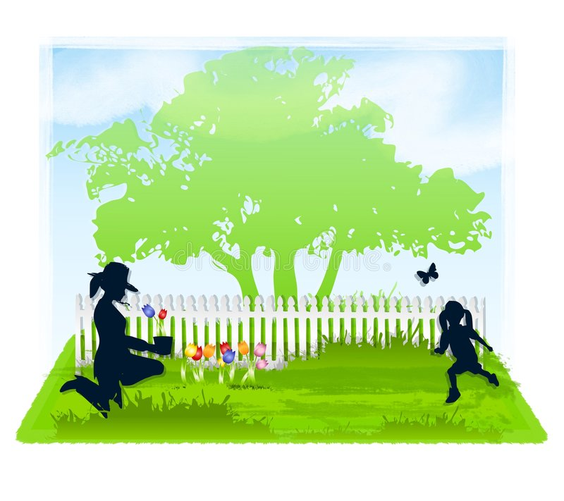 Spring Gardening With Mom. An illustration featuring a spring gardening scene, with mom planting flowers and daughter chasing a butterfly