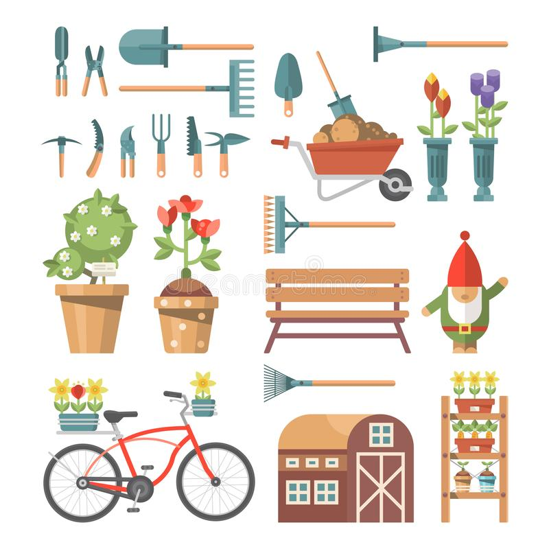 Download Spring Gardening Vector Flat Illustration In Pastel Colors With Cute  Gardening Tools And Garden Gnome