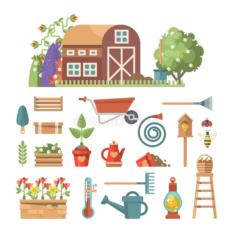 Download Spring Gardening Vector Flat Illustration In Pastel Colors With Cute  Gardening Tools Stock Vector