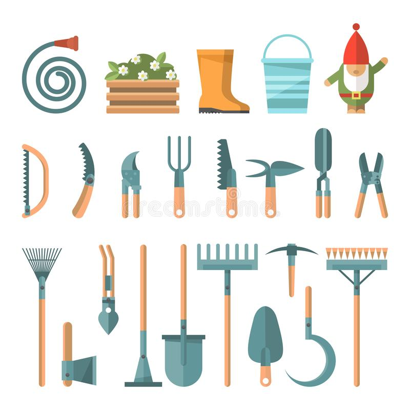 Download Spring Gardening Vector Flat Set Illustration In Pastel Colors  With Cute Gardening Tools Stock Vector