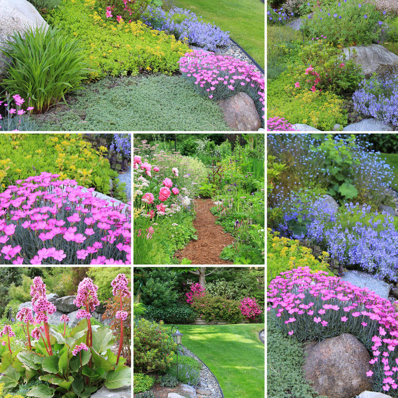 Spring gardens collage stock photo