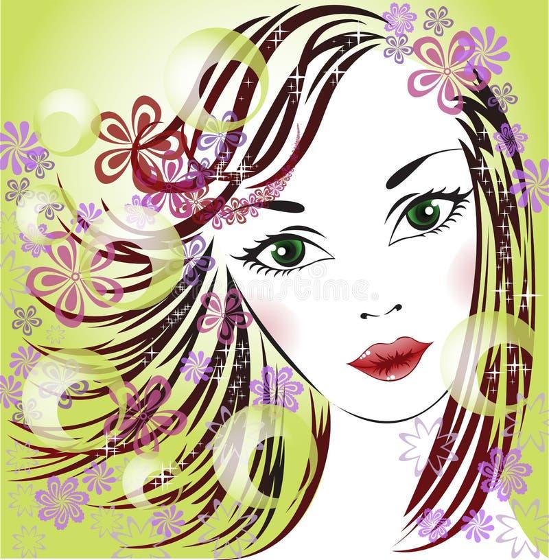 Download Spring Girl stock vector. Illustration of green, hair - 26620812