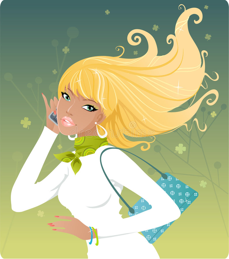 Download Spring girl stock vector. Illustration of green, cute - 4409811