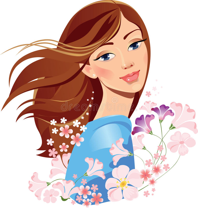 Spring girl with flowers. Vector illustration of a head girl with flowers vector illustration