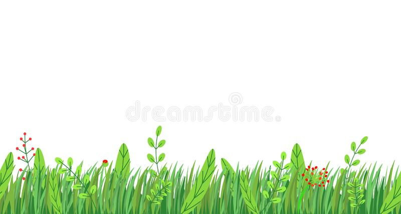 Spring grass seamless border vector. Floral springtime nature plant element isolated on white background in minimal stock illustration