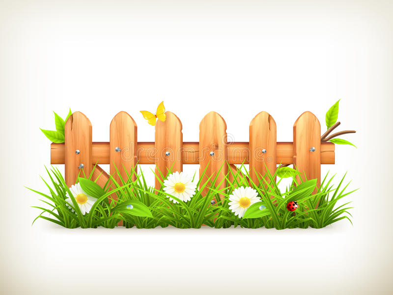Spring grass and wooden fence vector illustration