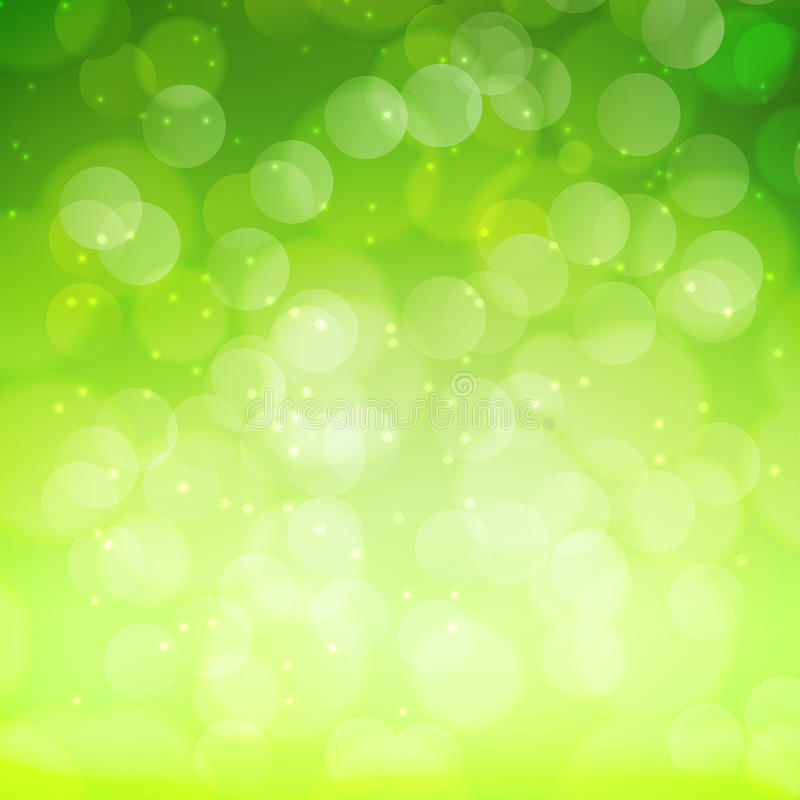 Spring green bokeh abstract light background stock illustration