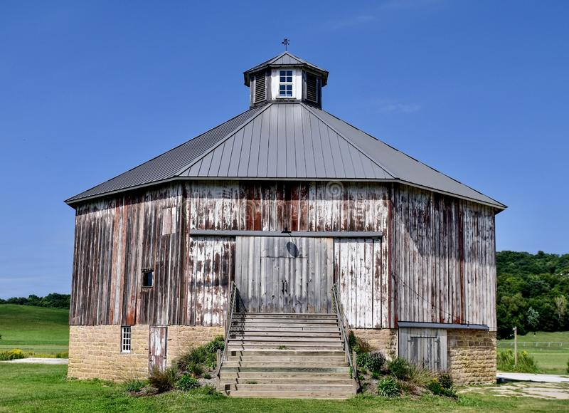 Spring Green Octagonal Barn #1. This is a late summer picture of the historic Spring Green Octagonal Barn Built in 1892, located in Spring Green, Wisconsin in stock photo