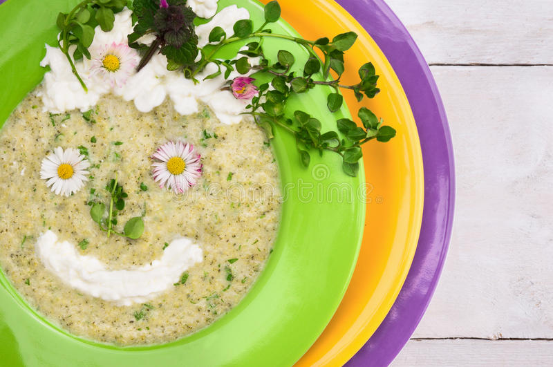 Spring green soup with wild herbs,decorating smile little face royalty free stock photography