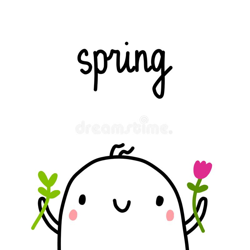 Spring hand drawn illustration with cute marshmallow holding flower and green plant vector illustration